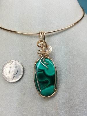 Stunning Designer Green Malachite Gemstone Hand sculpted in 14 kt Yellow Gold Wire