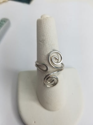 Sterling Silver Wire Sculpted Spiral Ring - Adjustable sizing