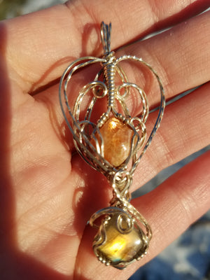 SunStone and Labradorite Gems Hand Sculpted together in Argentium Silver (tarnish resistant) Wire