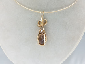 Beautiful Ametrine Faceted Gemstone  hand sculpted in 14kt Yellow Gold Filled Wire