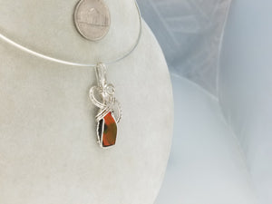 Iridescent Ammolite Gemstone hand sculpted in Sterling Silver Argentium tarnish resistant wire.