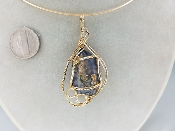 Terlingua Agate Gemstone Pendant Hand-sculpted in 14k Yellow Gold Filled Wire