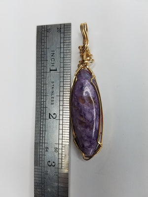 Amazing Charoite Gem Hand-Sculpted in 14kt Gold-filled wire
