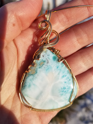 Large Natural Dominican Larimar Pendant