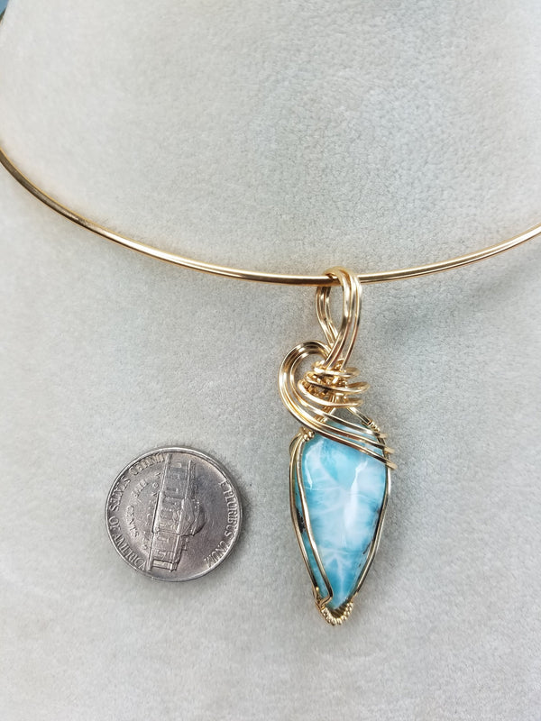 Unique Natural Dominican Larimar Gemstone Hand-scuplted in 14kt Yellow Gold-filled Wire