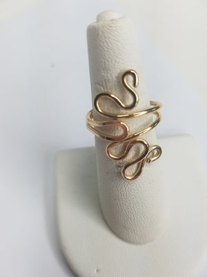 14 kt Gold Filled Wire Sculpted Twisty Ring - Adjustable sizing