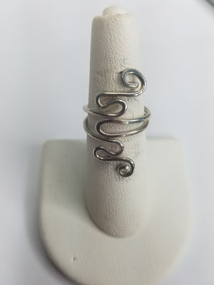 Sterling Silver Wire Sculpted Twisty Ring - Adjustable sizing