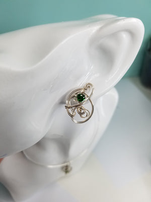 Chrome Diopside Jewelry Set- Pendant and matching Earrings Hand-sculpted in Argentium Sterling (tarnish resistant) Silver Wire