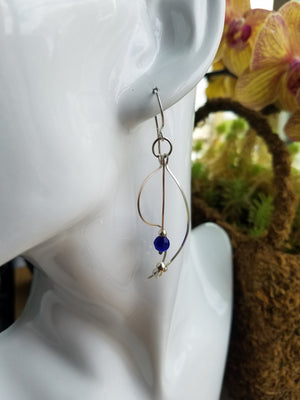 Sterling Sliver .925 Swoopy Earrings with Blue Cat's Eye drop