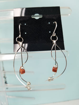 Sterling Sliver .925 Swoopy Earrings with Brown Goldstone drop