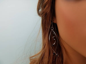 Unique Argentium Silver (tarnish resistant) Swirly Dangle Beaded Earrings