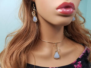 Light Blue Chaldecony Pendant and Earring set hand sculpted in 14kt gold filled wire