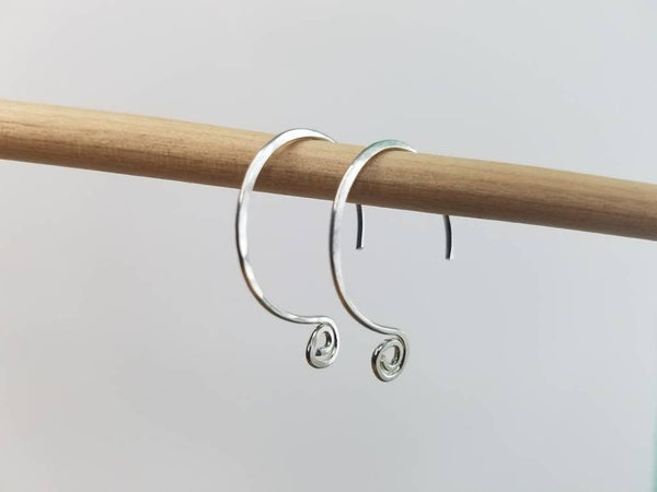 Small Hoop Spiral Minimalist Threader Earrings hand sculpted in Argentium Silver (tarnish resistant) Wire or 14 kt Gold Filled Wire
