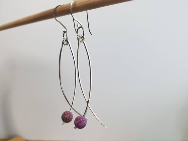 Argentium (tarnish resistant) Sterling Silver .925 Dangle Earrings With Regalite Beads