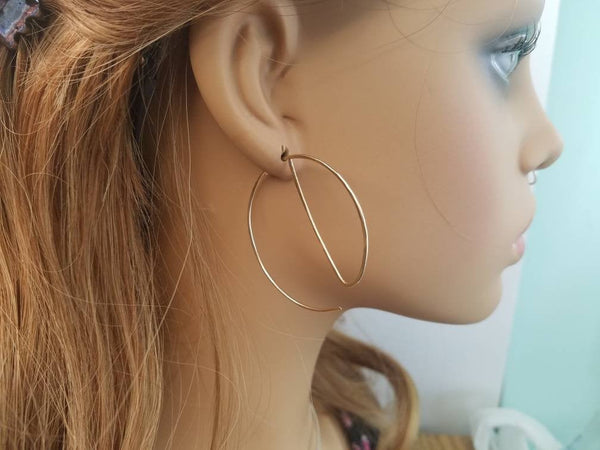Unique Hoop Minimalist Threader Earrings hand sculpted in 14kt Gold Filled Wire