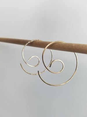 Nautilus Swirl Minimalist Threader Earrings hand sculpted in 14kt Gold Filled Wire