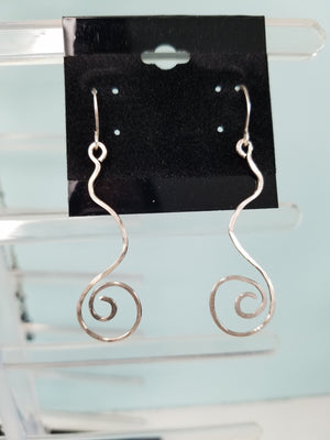 Argentium Silver (tarnish resistant) Swirly Dangle Earrings