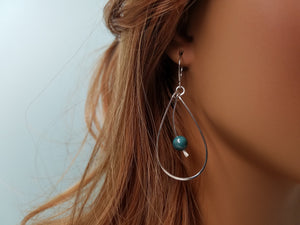 Beaded Turquoise Teardrop Earrings hand sculpted in Argentium Silver (tarnish resistant)