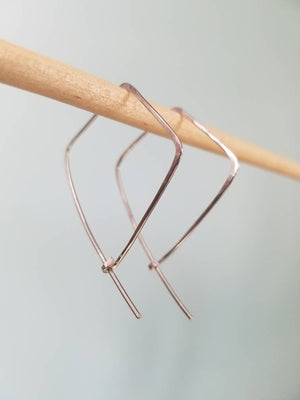 Kite Shape Minimalist Threader Earrings hand sculpted in Argentium Silver (tarnish resistant)
