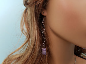 Long & Simple Drop Earrings with a Natural Charoite Drop Bead hand sculpted in Argentium Silver (tarnish resistant)