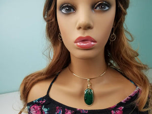 Stunning Designer Green Malachite Gemstone Hand sculpted in 14 kt Yellow Gold Filled Wire