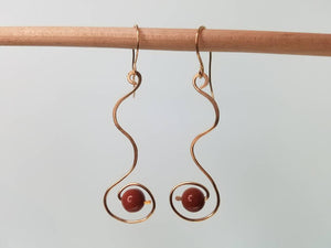 14kt Gold Filled  Swirly Dangle Earrings With Brown Goldstone Beads