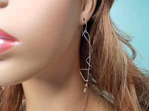 Unique Argentium Silver (tarnish resistant) Long Swirly Dangle Beaded Earrings
