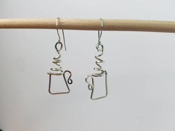 Argentium Silver (tarnish resistant) Hot Beverage Earrings--> Hot Cocoa, Tea, Coffee Earrings