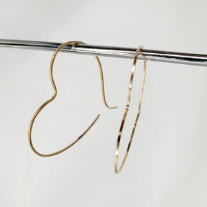 Heart Shaped Minimalist Threader Earrings hand sculpted in 14kt Gold Filled Wire