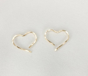 Tiny Heart Shaped Minimalist Threader Earrings hand sculpted in 14kt Gold Filled Wire