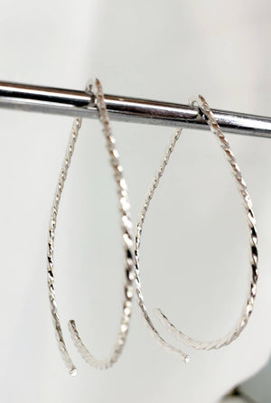 Teardrop Minimalist Twisted Wire Threader Earrings hand scuplted in Argentium Silver (tarnish resistant)