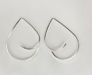 Teardrop Swoop Minimalist Threader Earrings hand scuplted in Argentium Silver (tarnish resistant)