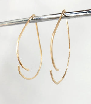 TearDrop Style Minimalist Threader Earrings hand sculpted in 14kt Gold Filled Wire