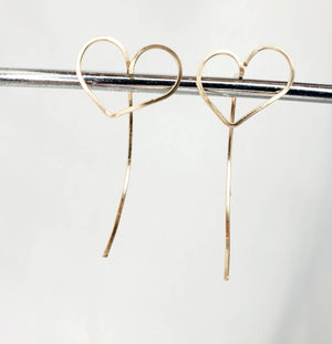Tiny Heart Shaped Minimalist Threader Earring Jackets hand sculpted in 14kt Gold Filled Wire