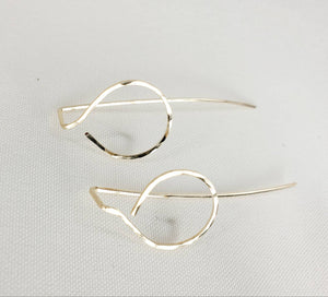 Small Circle Shaped Minimalist Threader Earring Jackets hand sculpted in 14kt Gold Filled Wire