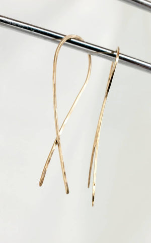 Criss Cross Earrings (2 inch) Minimalist Threader Earrings hand sculpted in 14kt Gold Filled Wire