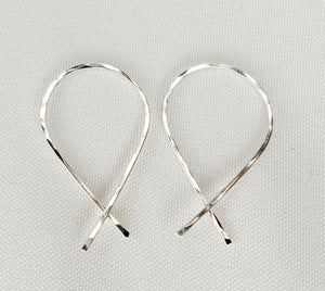 Criss Cross Minimalist Threader Earrings hand sculpted in Argentium Silver (tarnish resistant)