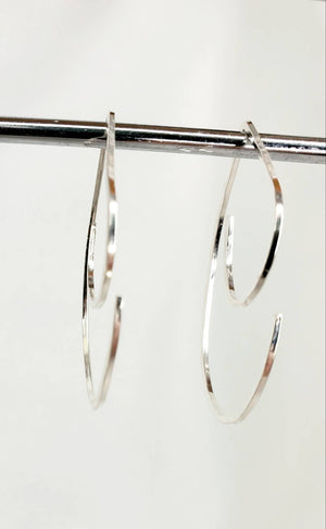 Medium Swirl Minimalist Threader Earrings hand sculpted in Argentium Silver (tarnish resistant)