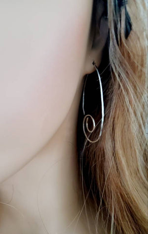 Medium Spiral Minimalist Threader Earrings hand sculpted in Argentium Silver (tarnish resistant)