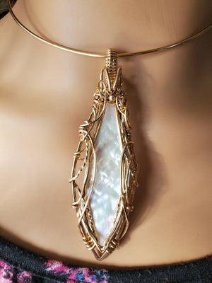 Mother of Pearl Pendant Uniquely Hand sculpted in yellow gold filled wire