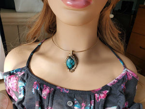 Magnificent Deep Blue Green Turquoise Pendant Uniquely Hand sculpted in yellow gold filled wire