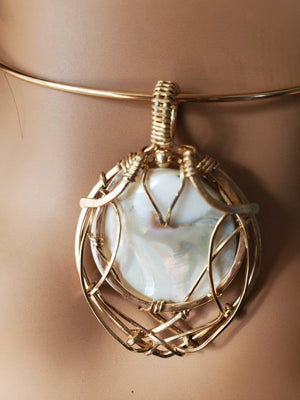 Reversible Mother of Pearl Pendant Uniquely Hand sculpted in yellow gold filled wire