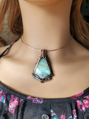 Gorgeous Labradorite Gemstone Hand Sculpted in Pure Copper Wire