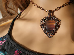 Fabulous Banded Rainbow Fluorite Gemstone Hand Sculpted in Pure Copper Wire