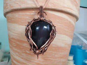 Black Rainbow Obsidian Gemstone Pendant Hand-Sculpted in Pure Copper Wire