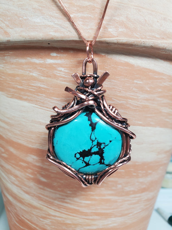 Turquoise  Gemstone Hand Sculpted in Pure Copper Patina Wire