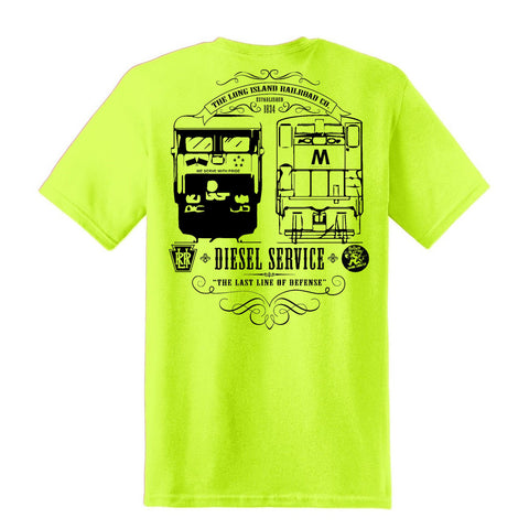 LIRR DIESEL SERVICE Short Sleeve T-Shirt (Safety Green)