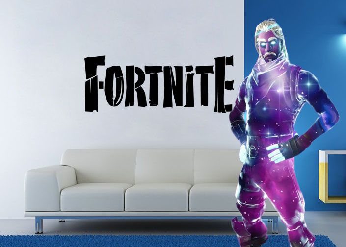 "Inspired by Fortnite Wood Grain Looking Letters For Gamer Wall Decal Sticker 31.2"" W By 12"" H"