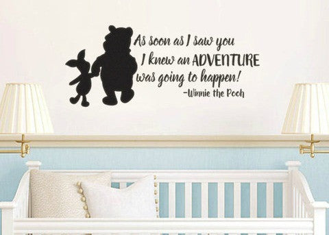 Lucky Girl Decals Wall Decor Sticker Quote Lucky Girl Decals Wall Decor Sticker Quote Pooh Inspired I Knew When I Met You Adventure Vinyl Wall Decal Sticker - Lucky Girl Decals