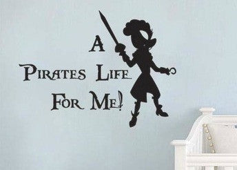 "Peter Pan A Pirates Life For Me Wall Decal Sticker 16""w x 12""h"